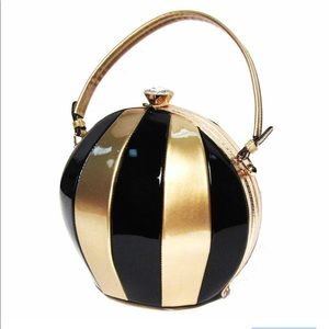 Handbags - Gold and black beach ball bag